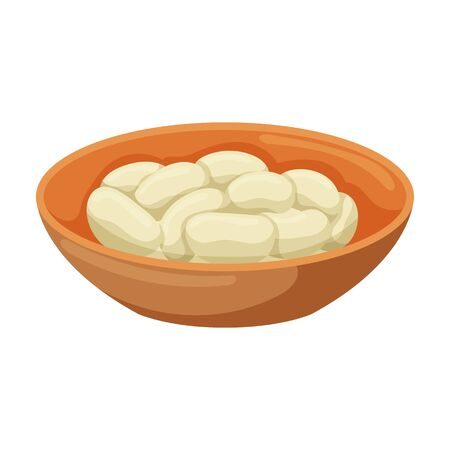 Bowl of bean vector icon.Cartoon vector icon isolated on white background bowl of bean.