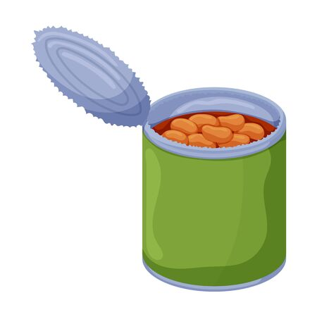 Can of bean vector icon.Cartoon vector icon isolated on white background can of bean .