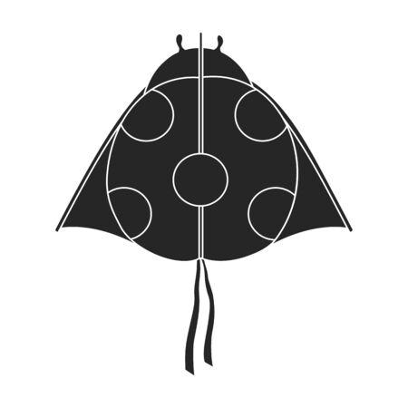 Kite ladybug vector icon.Black vector icon isolated on white background kite ladybug .