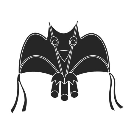 Kite bat vector icon.Black vector icon isolated on white background kite bat .