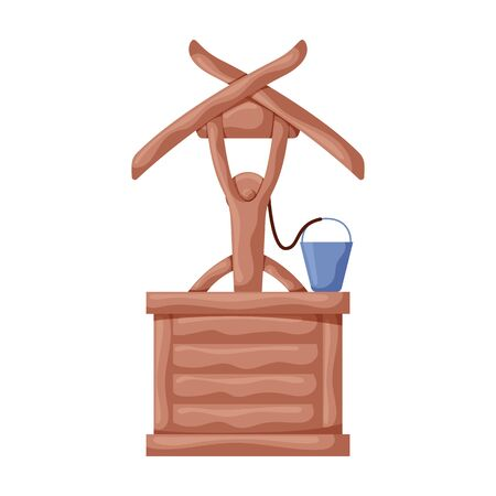 Wooden well vector icon.Cartoon vector icon isolated on white background wooden well .