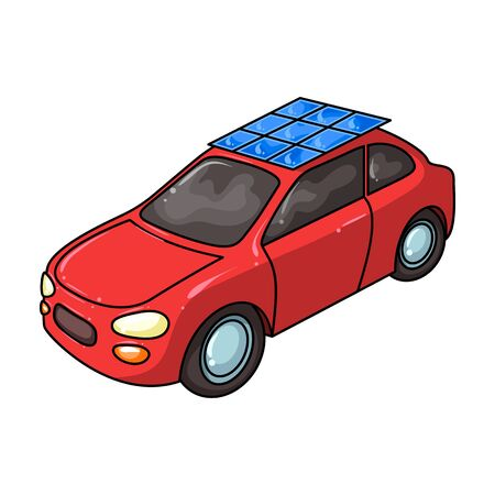 Solar power of car vector icon.Cartoon vector icon isolated on white background solar power of car . 向量圖像
