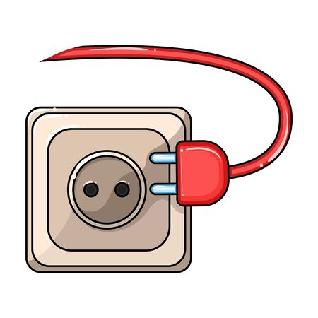 Socket of plug vector icon.Cartoon vector icon isolated on white background socket of plug.