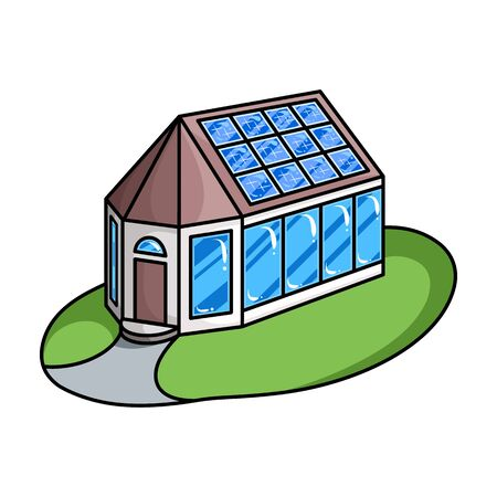 House of solar panel vector icon.Cartoon vector icon isolated on white background house of solar panel . Illustration