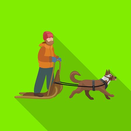Dog with sled vector icon.Flat vector icon isolated on white background dog with sled. Illustration