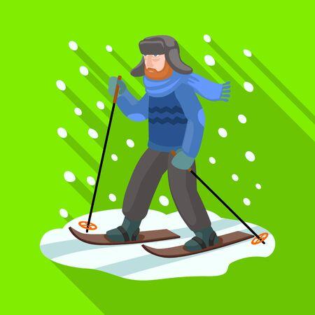 Skier on ski vector icon.Flat vector icon isolated on white background skier on ski. Illustration