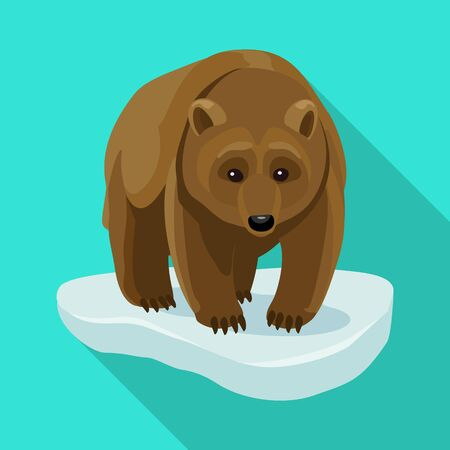 Brown bear vector icon.Flat vector icon isolated on white background brown bear. Illustration