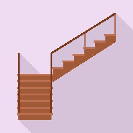 Wooden staircase vector icon.Flat vector icon isolated on white background wooden staircase. Ilustración de vector