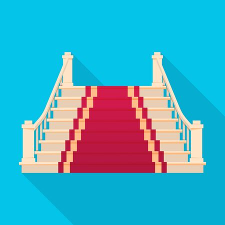 Staircase with carpet vector icon.Flat vector icon isolated on white background staircase with carpet. Ilustracja
