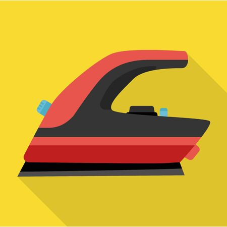 Steam iron for home clothes vector flat icon.Flat illustration of laundry appliance and hot steam iron.