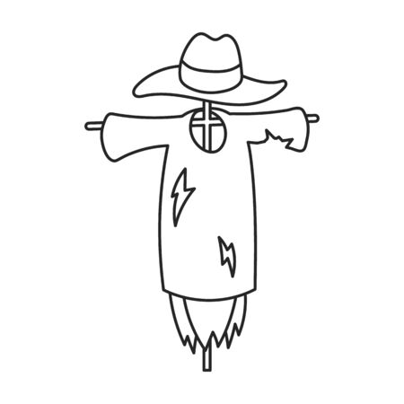 Scarecrow vector icon.Outline vector icon isolated on white background scarecrow. Иллюстрация