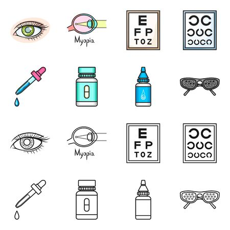 Vector design of optometry and medicine logo. Collection of optometry and diagnostic stock vector illustration.
