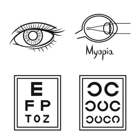 Isolated object of correction and optometry logo. Set of correction and vision stock vector illustration. Ilustracja