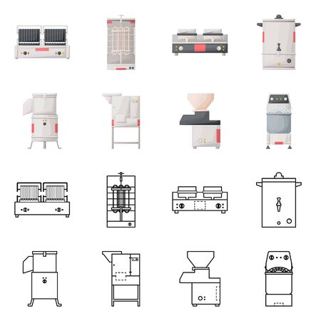 Vector illustration of domestic and appliances icon. Set of domestic and furniture stock vector illustration.