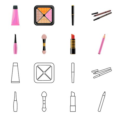 Vector illustration of makeup and product icon. Collection of makeup and cosmetology vector icon for stock. Illusztráció