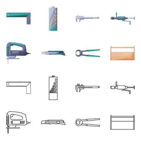 Isolated object of renovation and household icon. Collection of renovation and handicraft stock vector illustration.