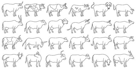 Cow of animal vector outline set icon.Isolated outline icon farm animal of cow.Vector illustration cattle for farm on white background. Vectores