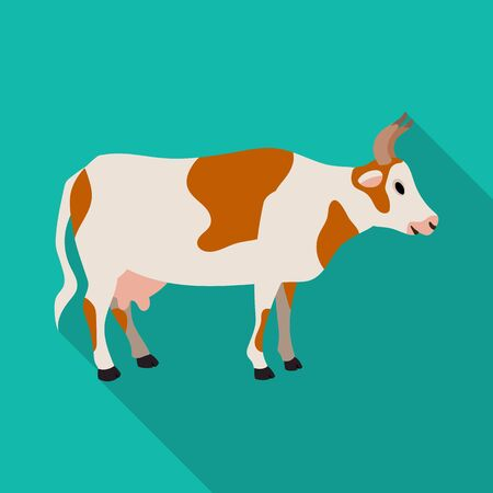 Cow of animal vector icon.Flat vector icon isolated on white background cow of animal.  イラスト・ベクター素材