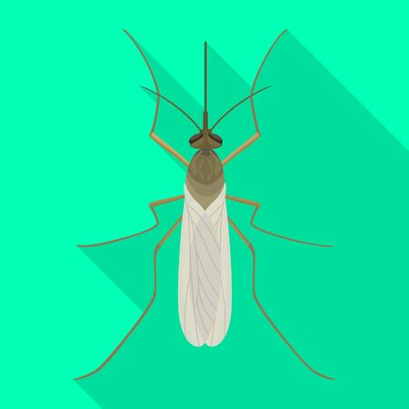 Mosquito vector icon.Flat vector icon isolated on white background mosquito. Иллюстрация