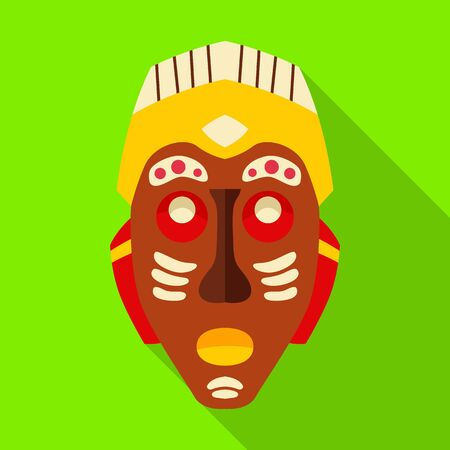 Tribal african mask vector icon.Flat vector icon isolated on white background tribal african mask.  イラスト・ベクター素材
