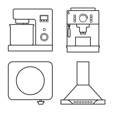 Vector illustration of equipment and domestic icon. Set of equipment and kitchen stock symbol for web.