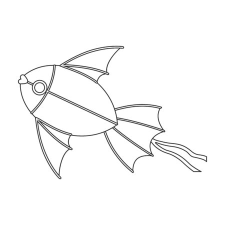 Kite fish vector icon.Outline vector icon isolated on white background fish kite .