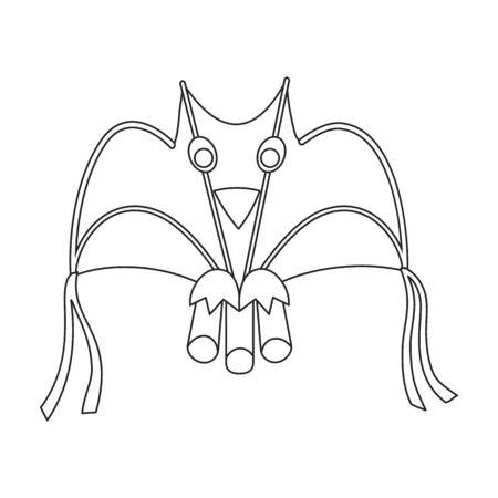 Kite bat vector icon.Outline vector icon isolated on white background kite bat .