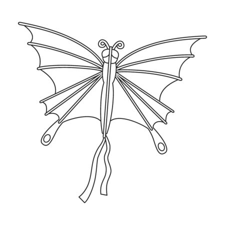 Kite butterfly vector icon.Outline vector icon isolated on white background kite butterfly .