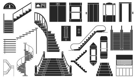 Staircase and lift vector black set icon.Vector illustration stair and escalator.Isolated black icon wooden of metal staircase on white background.