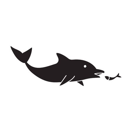 Blue dolphin vector icon.Black vector icon isolated on white background blue dolphin . Illustration