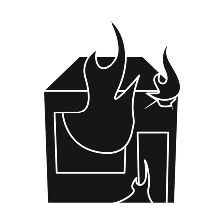 Vector illustration of house and flame symbol. Collection of house and burning stock symbol for web.