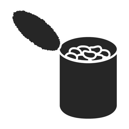 Can of bean vector icon.Black vector   isolated on white background can of bean .