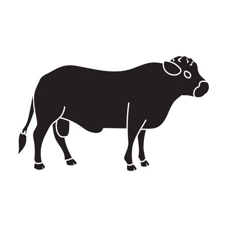 Bull vector icon.Black vector icon isolated on white background bull. Vettoriali