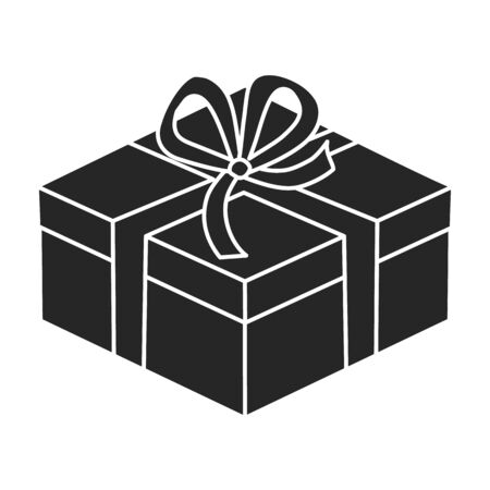 Gift box vector icon.Black vector icon isolated on white background gift box. Illustration