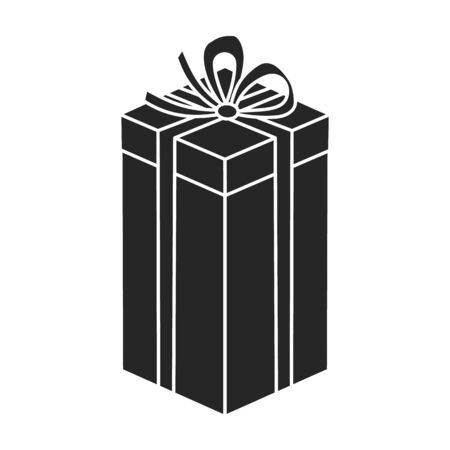 Present box vector icon.Black vector icon isolated on white background present box.