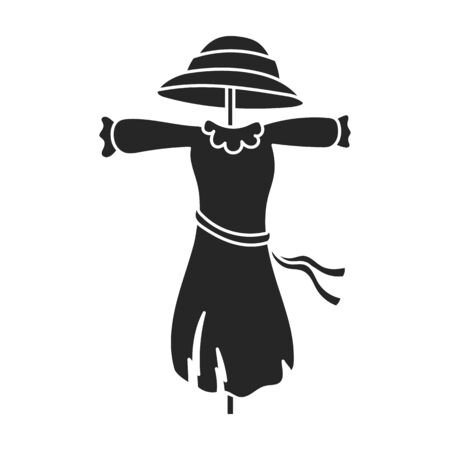 Scarecrow vector icon.Black vector icon isolated on white background scarecrow.