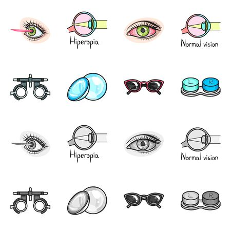 Vector illustration of optometry and medicine logo. Collection of optometry and diagnostic stock symbol for web.