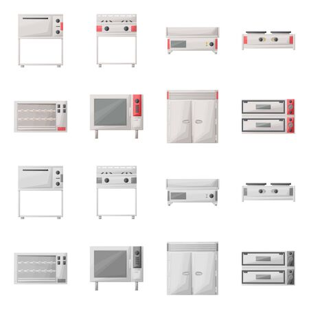 Vector illustration of domestic and appliances icon. Set of domestic and furniture vector icon for stock.