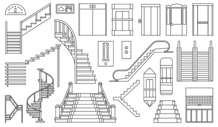 Staircase and lift vector outline set icon.Vector illustration stair and escalator.Isolated outline icon wooden of metal staircase on white background. 일러스트