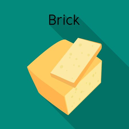 Vector illustration of cheese and brick icon. Graphic of cheese and appetizer stock symbol for web.