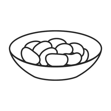 Bowl of bean vector icon.Outline vector icon isolated on white background bowl of bean.