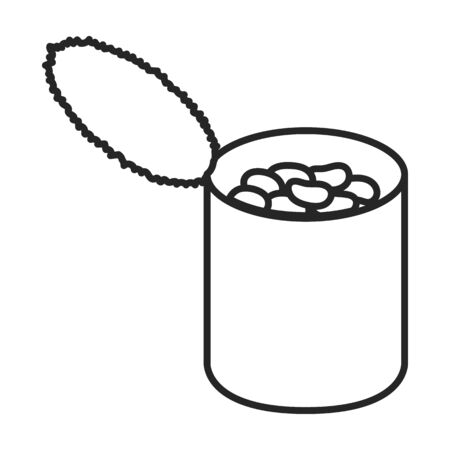 Can of bean vector icon.Outline vector icon isolated on white background can of bean . Vettoriali