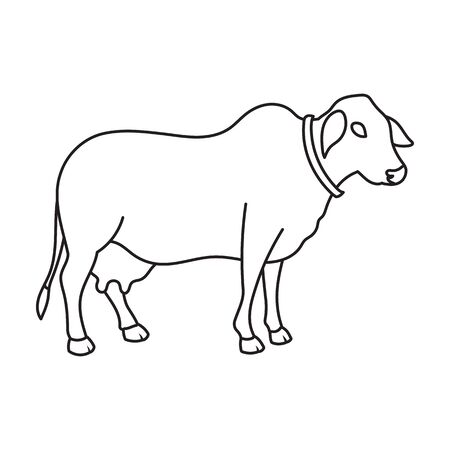 Cow of animal vector icon.Outline vector icon isolated on white background cow of animal.