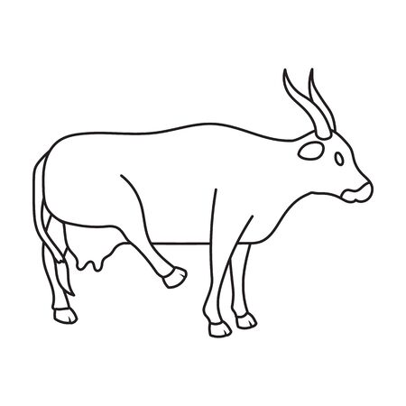 Cow of animal vector icon.Outline vector icon isolated on white background cow of animal. Vectores