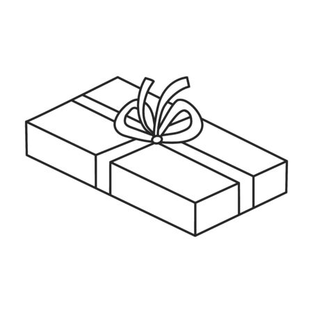 Present box vector icon.Outline vector icon isolated on white background present box.