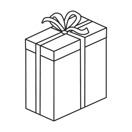 Gift box vector icon.Outline vector icon isolated on white background gift box. Illustration