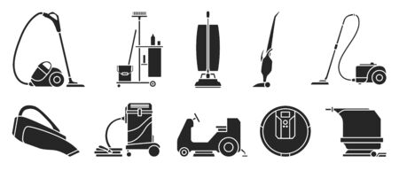 Vacuum cleaner Black vector illustration on white background . Set icon vacuum cleaner for cleaning .