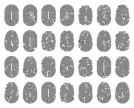 Fingerprint vector isolated black set icon. Vector illustration thumbprint on white background . Black set icon fingerprint.