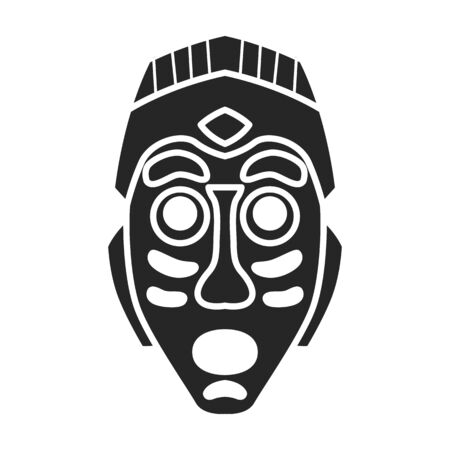 Tribal african mask vector icon.Black vector icon isolated on white background tribal african mask. Векторная Иллюстрация