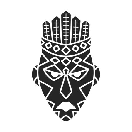 African mask vector icon.Black vector icon isolated on white background african mask.